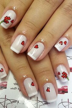 New Nail Art Design, Valentine's Day Nail Designs, French Manicure Designs, Bling Nails, Red Nails, Valentine Nail Art, Super Nails, Beautiful Nail Art, Holiday Nails