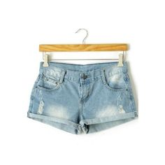 Light Blue Denim Ripped Turn Up Shorts ($25) ❤ liked on Polyvore