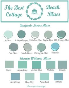 This unique san onofre beach cottage is certainly an interesting style conception. Aqua Paint Colors, Cottage Paint Colors, Coastal Paint Colors, Paint Colors For Home, Room Colors, House Colors, Painted Cottage, Colours, Beach Cottage Style