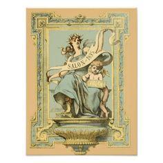 Blue & Yellow Decor Collection Posters Salon 1895  $35.00  by ContessadiGaldo  - cyo diy customize personalize unique