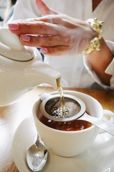 Loose Leaf tea steeped in teapot and then strained into tea cup, gets the most flavor out of your tea leaves.