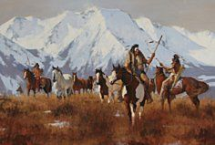 Ponies of the Crow Oil on canvas   by Richard D. Thomas   kp