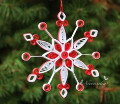 Paper Quilled Snowflake Ornament in Red and White perfect for Christmas. $13.99, via Etsy.