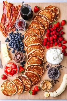 """Build Your Own Pancake Board - Completely Delicious - - This fun and creative """"build your own"""" pancake board with all the toppings is perfect for breakfast, brunch, and even brinner! Brunch Recipes, New Recipes, Breakfast Recipes, Cooking Recipes, Brunch Food, Brunch Buffet, Brunch Party, Brunch Wedding, Brunch Menu"""