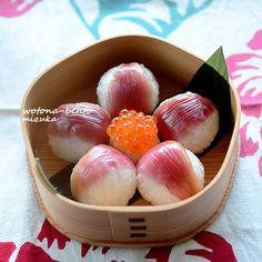 myoga ginger temari sushi in floral friday version 茗荷の手まり寿司 花金ver. from http://xmizukax.jp/blog-entry-150.html