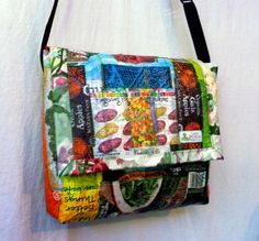 Large Recycled bicycle inner tube tote bag with custom caribou fabric design