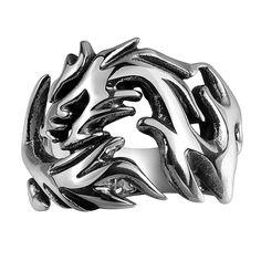Mens Polished Silver Tone Steel Biker Punk Signet Mood Ring In God We Trust