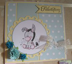 Paperlipopette's baby Card, Craft Stamper mag inspired, create with Meljen's Design donkey digistamp