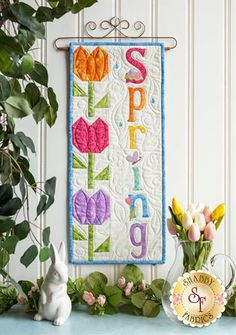 Pieced Tulip Block - A Year In Words Wall Hanging - Spring - April - Kit Cordless Iron, Clover Flower, Shabby Fabrics, Embroidery Scissors, Pattern Blocks, Block Patterns, Half Square Triangles, Welcome Spring, Quilted Wall Hangings