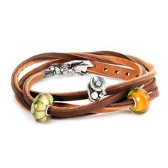 Leather Bracelet, Light/Dark Brown - Trollbeads.com