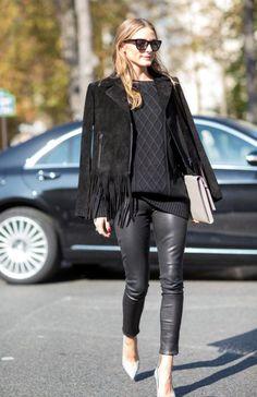 Total look black + jeu de matières + chaussures colorées