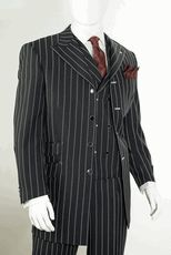 Mens Black White Stripe Gangster Style Zoot Suit by Vittorio St. Angelo  HGD34V - click to enlarge