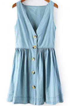 214c7c653d Blue V Neck Sleeveless Buttons Denim Dress. Blue Jean DressJean DressesCute  DressesSummer DressesWomen s ...