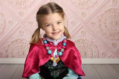 Girls Princess Anna Inspired Bling Chunky Necklace - Frozen Inspired Rhinestone Bubblegum Beaded Necklace - Magical Vacation, Princess Party