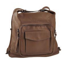 Taupe T&V 'Raffaello' women's leather shoulder bag backpack