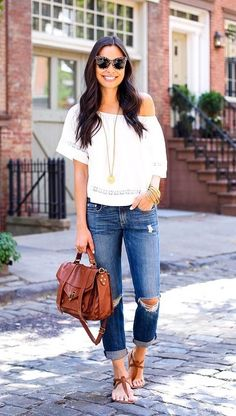 Off-the-shoulder peasant top to wear with your favorite ripped jeans.