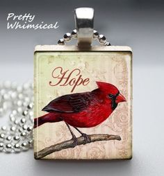 Red Cardinal Hope Bird Necklace Scrabble Tile by prettywhimsical