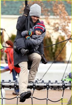 Tom Brady takes his son Benjamin to the park on January 12, 2014