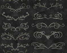 50% OFF Elegant Flourish Clipart - Wedding Download - Instant Download - Cream Colored Hand Drawn Flourish Download