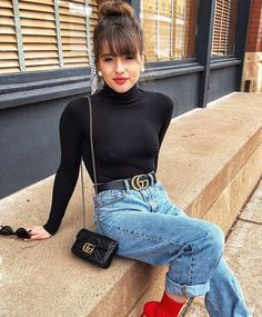 Casual holiday look black turtleneck denim cross body bag Gucci belt red b - Black Belt - Ideas of Black Belt - Casual holiday look black turtleneck denim cross body bag Gucci belt red bold lips and red sock booties Mode Outfits, Jean Outfits, Casual Outfits, Fashion Outfits, Fashion 2018, Casual Bags, Casual Heels, Holiday Outfits, Fall Winter Outfits