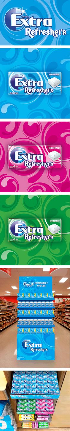 Wrigley's wanted to expand the Extra brand portfolio with a new gum. Our challenge was to develop a sub brand to communicate the refreshing experience of this new, flavour filled gum which leapt off the shelf and clearly articulated the sense of refreshment offered. We started by visualising the hydrating experience using liquid like forms which flow around the Extra brand mark, creating a dynamic expression of the mouth-watering effects of the gum. #Branding #Packaging #Design Visualising, Sub Brands, Design Agency, Packaging Design, Flow, Identity, Shelf, Challenges, Branding