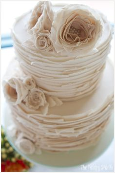Vintage Wedding Cake {Layers of White Chocolate accented with Pearled Florals} by The Pastry Studio