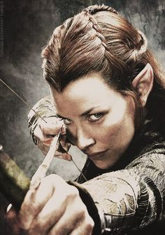 The Hobbit: The Desolation of Smaug- I love her hair! @Mary Powers Gs remember when we tried to do this?