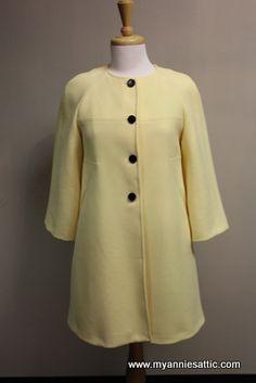 Zara Woman long coat, size SMALL Lemon yellow, 4 black buttons 3/4 sleeves $63