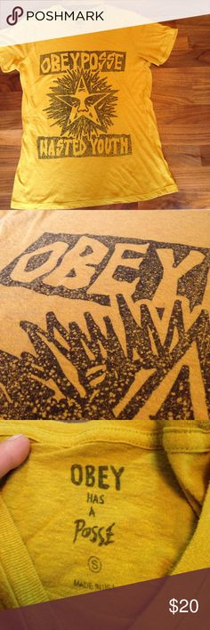 db8d54abeea6 Shop Women s Obey Gold size S Tees - Short Sleeve at a discounted price at  Poshmark. Description  Awesome ugly Mustard yellow
