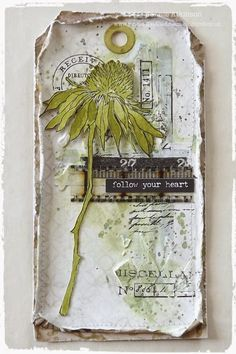 Live The Dream Jennie Atkinson Mixed Media Tag using TIm Holtz Flower Garden stamps