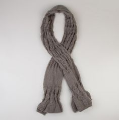 Grey Bubble Knit Scarf with Pull Through Feature.