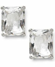 Lauren Ralph Lauren Earrings, Silver-Tone Rectangular Crystal Pave Stud Earrings