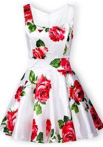 White Sleeveless Bandeau Floral Tank Dress US$30.67