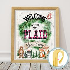 Woodland Birthday Party Poster // Woodland Birthday Party Print // Woodland Birthday Party Welcome Sign // Woodland Girl Birthday Party Print // Woodland Animal Party Decor // Woodland Party Decorations // Pink Buffalo Plaid Birthday Party Print // Pink Lumberjack Birthday Party Welcome Poster by SoCalCrafty on Etsy. Printable Instant Download. $5