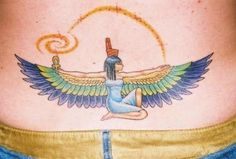 Colorful Egyptian Tattoo On Lower Back