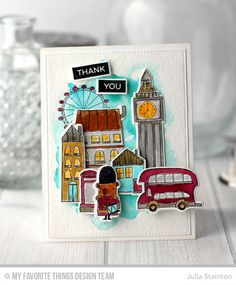 London Thank You Card with Big Ben in watercolor by Julia Stainton featuring MFT Stamps dies and stamps