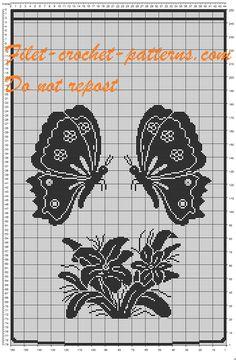 Filet crochet pattern butterfly curtain