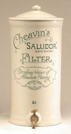 Early 20th century charcoal filter water purifier, much like modern ones. #history #vintagemayhem