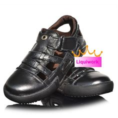 Boys Kids Black Cowhide Leather Dress Formal Casual Sandals Shoes SKU-134037