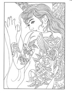Free coloring page coloringadultshouldertattooedwoman