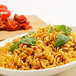 Warm Roasted Red Pepper Pasta Salad   <   SW:  Toss spinach into pasta pot for 1 min before draining    /   cl