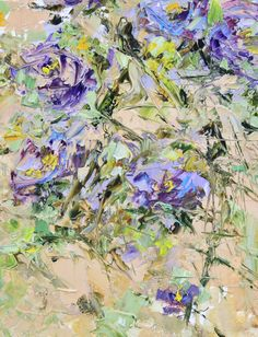 Left unsaid thoughts. Oil acrylic Original Painting Impasto art for lounge. Blue, lilac, yellow, beige, green flowers chrysanthemums Matkina от ForestSandandAir Oil Painting Flowers. Impasto. Marina Matkina Painting. Art. Palette Knife. Texture. Details.