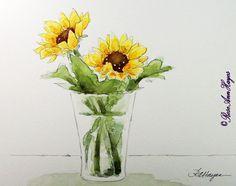 Sunflowers in Vase Original Watercolor Painting Flowers - in my Etsy shop