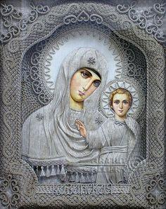 macrame, macrame art, St. Nicolas icons, icons art, religious icons, russian religious icons, icons art. Applied art. The Mother of God of Kazan. Denshchikov Vladimir