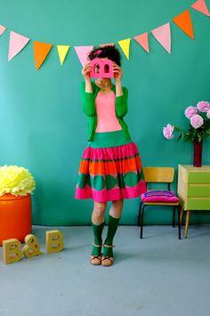 Sommerlicher, bunter Rock aus Baumwolle // Colorful cotton skirt by Bonnie-and-Buttermilk via DaWanda.com