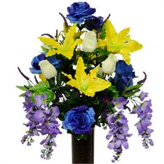 Yellow Stargazer Lilies, Wisteria and Rose Buds    (Silk Cemetery Flowers)
