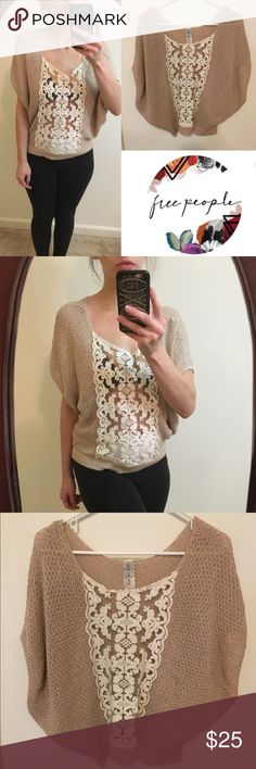 Free People Gold Spun top with peekaboo lace In excellent condition size small. 💃🏻For reference I am 5'7 and about a size 6 😜I do have a newborn and 4 year old at home and if I don't get back to you right away it's probably because they have taken me hostage.  👎🏻 no trades or Paypal 👊🏻 please no lowball offers ✔️all items come from a smoke free home 🎁 gift wrapping and personalized note available for only $0.99 🛍Thank you for shopping my closet Free People Tops