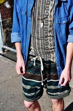 Menswear, Mens Fashion, Spring Trends, Aztec, Tribal prints, Spring Fashion, Denim, Chambray, Emerald