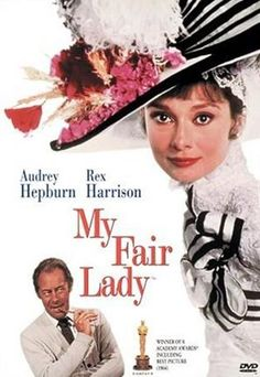 Audrey Hepburn and Rex Harrison star in the classic movie My Fair Lady. Love this cover artwork! #audreyhepburn #myfairlady #classicmovies