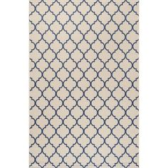 Inspired by the tile floors of Morocco, this indoor/outdoor rug adds elegant pattern to your porch, patio or sunroom. The ogee-curved trellis woven in navy adds graphic punch to a beige background. Mingled threads give this pattern a handwoven, vintage vibe that's perfect for an entry, kitchen, hallway, living room or bedroom too. The pet-friendly and kid-proof flatweave design makes it easy to clean, and perfect for the beach house.